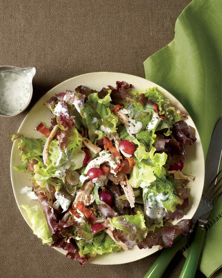 Chicken and Grape Salad | Martha Stewart Living - Supermarket rotisserie chicken comes together with sweet grapes and savory bacon in a fast, fresh dinner. Shred or slice the leftover meat and use in a sandwich, quesadilla, or pasta dish for another quick meal.
