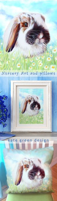 This cuddly bunny for art or a pillow in your child's nursery or bedroom is absolutely charming. Kate Green's illustration of a beautiful lop-eared rabbit can be purchased as a print, canvas wrap, or a super soft velveteen pillow for a bed or chair. Years and years of warm memories and cuddle time. www.kategreendesign.com