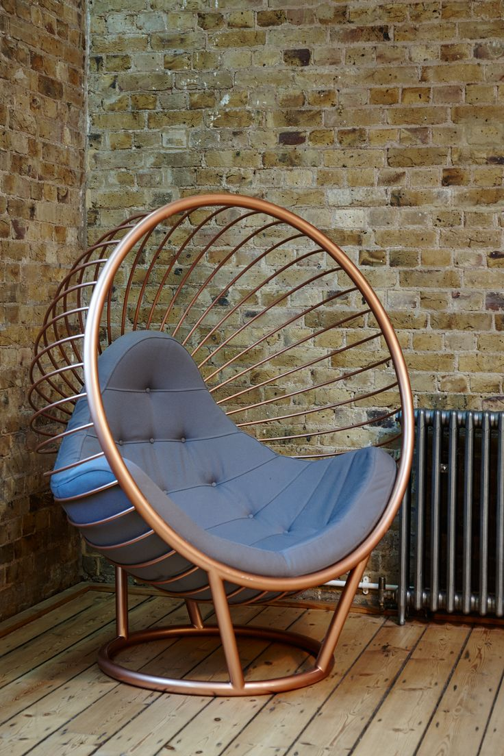 Rose Gold Stove Enamelled Wire Bubble Chair with grey fabric cushion by Ben Rousseau