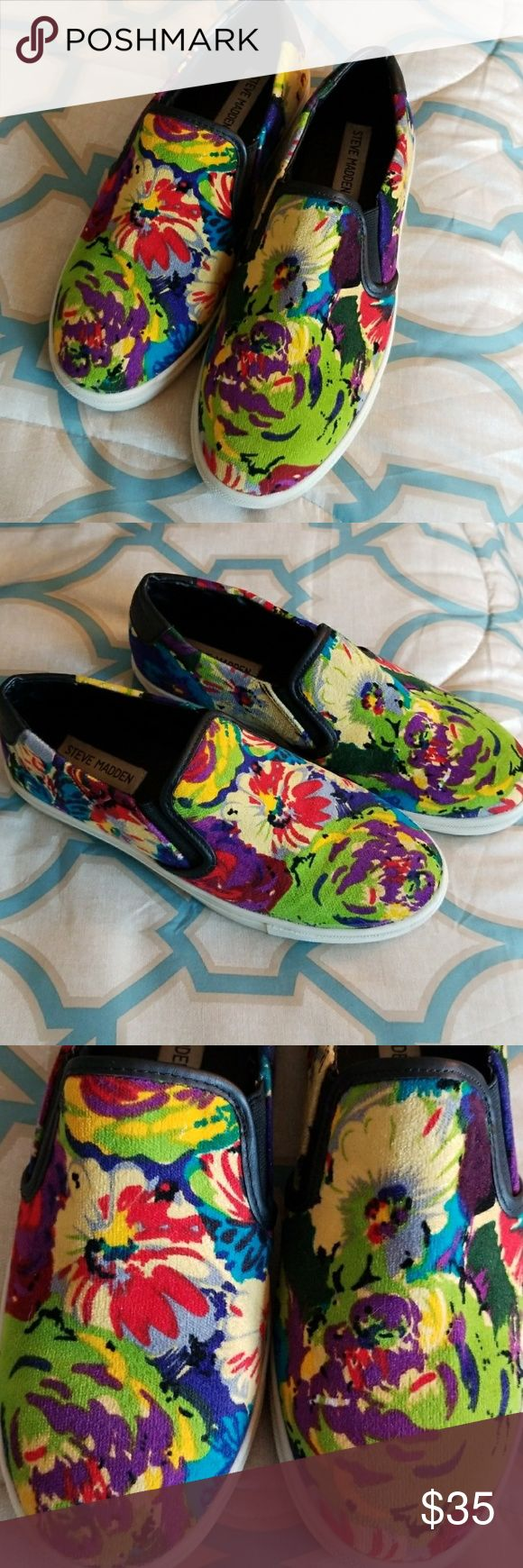 💚Steve Madden Slip-On Sneakers. 💜💛Encentrcv Steve Madden Slip-On Sneakers.💜💛 A vivid flower print that blooms on a relaxed slip-on sneaker with a thick wrap around sole.   💙Such a cute summer shoe that goes with virtually anything!💙 Amazing condition!  I haven't been able 2 find these in stock in stores!   This is a re-posh as they are a tad on the snug size 4 me.   Thanks so much 4 looking! 😊 Steve Madden Shoes Flats & Loafers