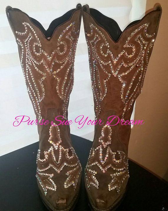 Custom Designed Swarovski Crystals Cowboy by PurseSueYourDream swarovski cowboy boots, swarovski crystal, rhinestone cowboy boots, wedding cowboy boots, wedding shoes, cowboy bling boots, bling boots, embellishes boots, bedazzled boots, rhinestone cowgirl, swarovski shoes, wedding cowboy boot, bling rodeo shoes