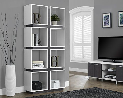Monarch Specialties White/Grey Hollow Core Bookcase, 71 Inch Monarch  Specialties Http