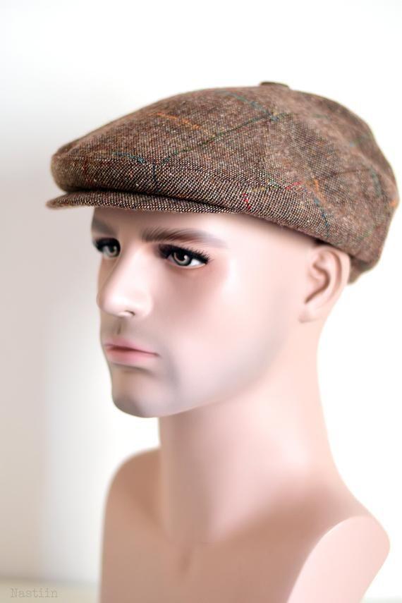 Mens Paperboy Flat Hat Gatsby Summer Herringbone Newsboy Beige Adjustable Cap