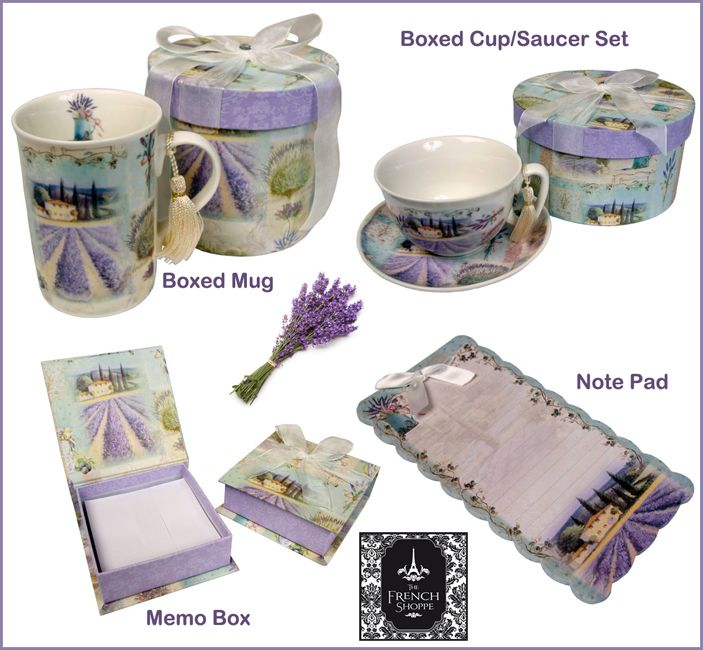 New #Lavender Collection of Boxed Mugs, Cup/Saucer Sets, Note Pads & Memo Boxes Available at both our Boutiques or by phone Leura (02) 47842383 or Orange NSW (02) 63620940