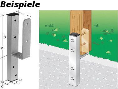 Y-Pfostenträger Detailansicht mit Bemaßung und Anbringung eines Holzpfosten