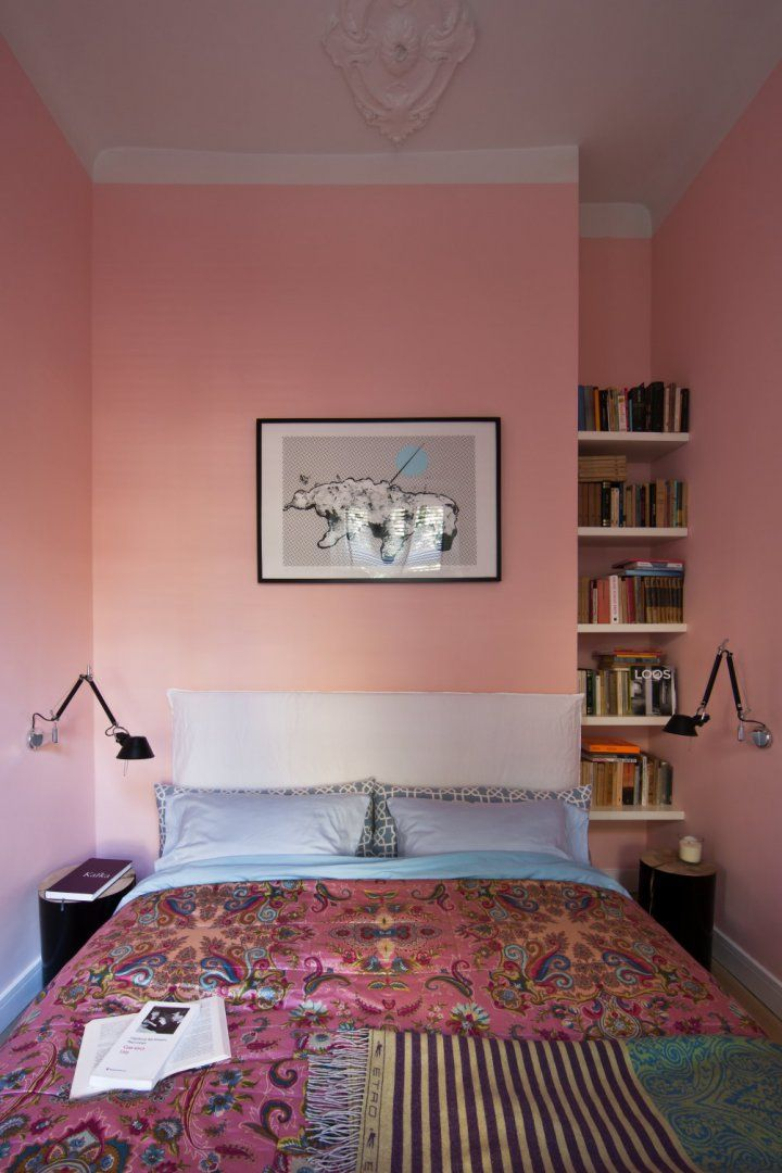 Central bedroom piece: Ghost by Gervasoni bed covered with Etro Home couder. Both available at Showroom MOOD, Warsaw #mood #bedroom #bed #pinkbedroom #pink #etrohome #etro