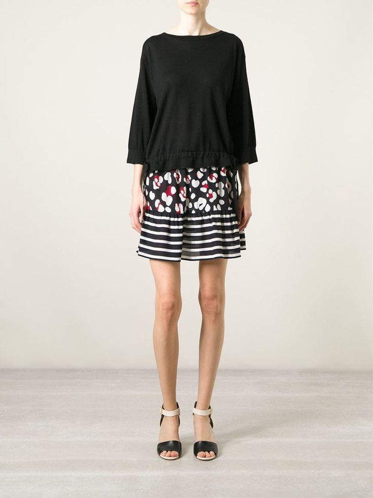 Blue,white and red silk mixed prints A-line skirt from Red Valentino