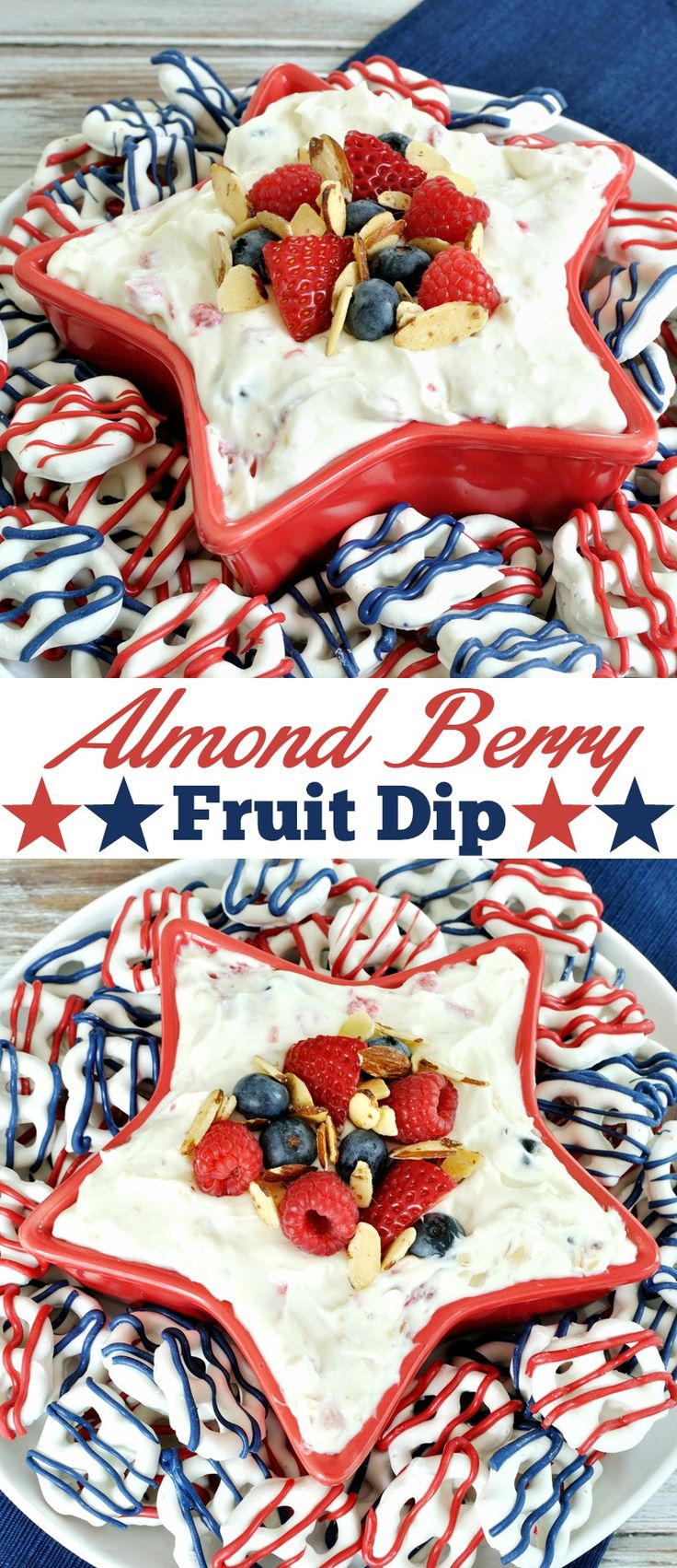 Cream cheese fruit dip recipe combines the flavor of almond with berries to create a patriotic and easy dessert for the 4th of July or Memorial Day.