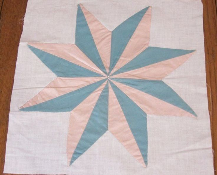 Dimensional Star! c 1930s Vintage QUILT block   12 x 11 3/4 peach green