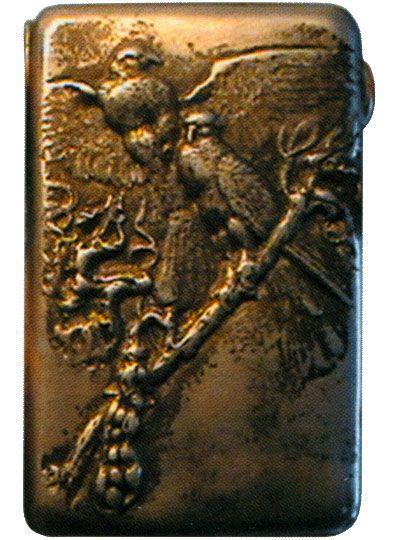 Портсигар украшенный изображением птиц Конец XIX века