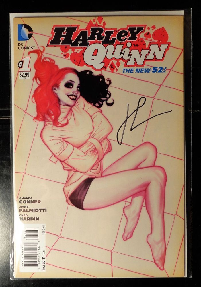 Signed #1 variant DC New 52 comic Harley Quinn in a straight ...