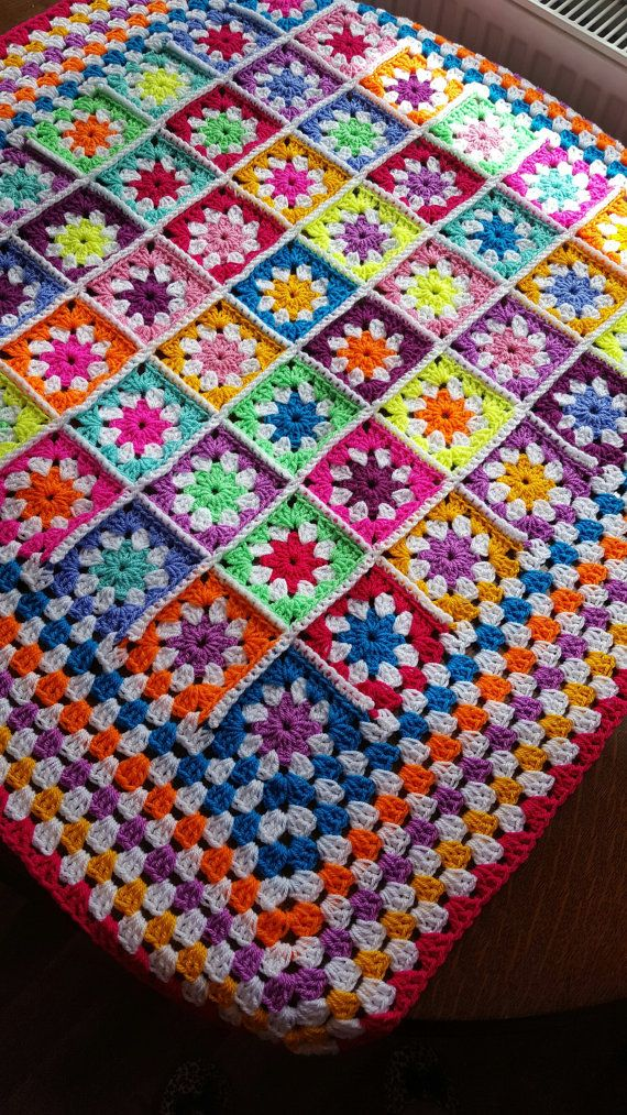 Daisy Granny Squares BRIGHT Blanket Afghan Crochet by Thesunroomuk
