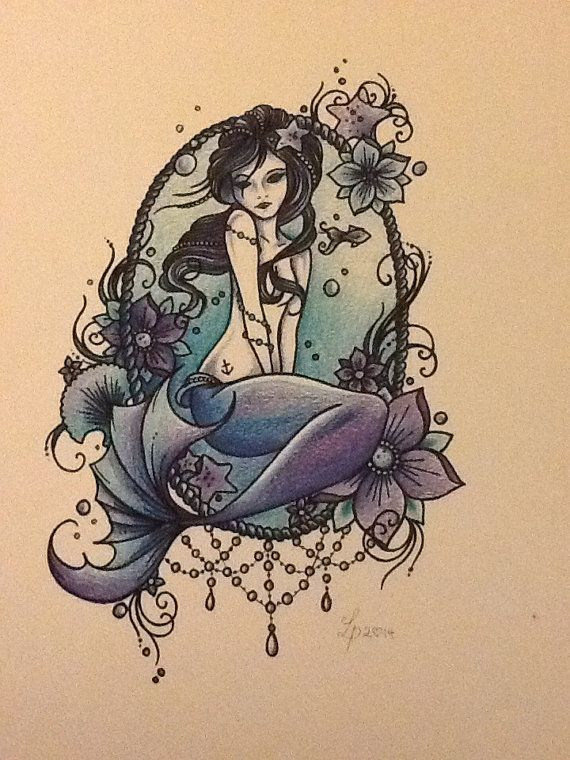 Mermaid art print by libby firefly by Libbyfireflyart on Etsy, £7.00