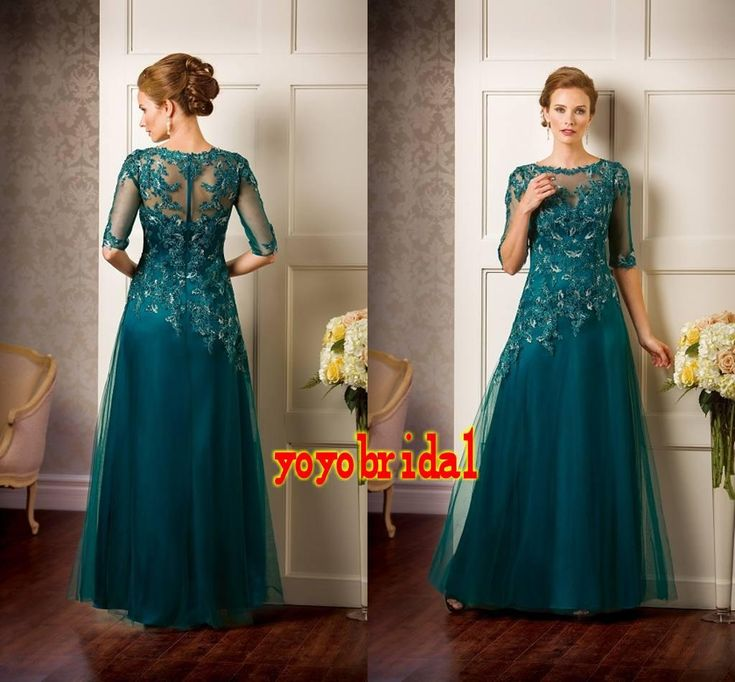 Sexy Teal Mother of the Bride Groom Dresses With Half Sleeves Lace Applique Tulle A line Sheer Neckline Evening Party Formal Dress Gown