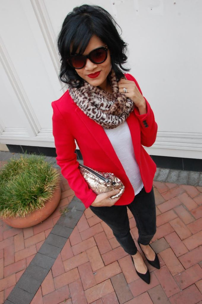 Pop of Red Blazer