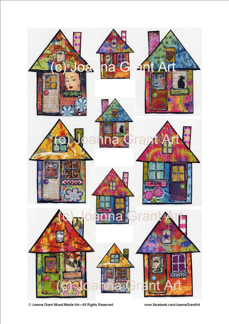 FUNKY HOUSES Digital INSTANT Download Collage Sheet Mixed Media Art by JoannaGrantArt on Etsy