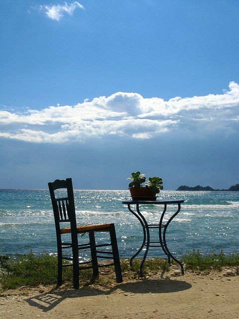 """*Table For One*   [From an Island called """"Thassos"""" in the Northern Aegean Sea.]  [Photo by *Annurgaia* (Anna Hietanen)  July 25 2008 in Greece] 'h4d' 120812"""
