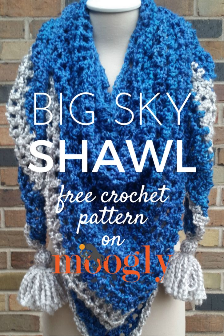 Big Sky Shawl - free crochet pattern on Mooglyblog.com, shawl, wrap, #haken, gratis patroon (Engels), omslagdoek, #haakpatroon
