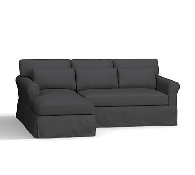 york roll arm slipcovered deep seat right arm sofa with chaise sectional down blend wrapped - Tpferei Scheune Kleine Wohnzimmer Ideen
