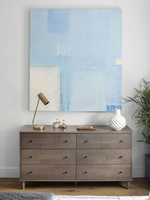 AFTER: wooden dresser large blue abstract painting