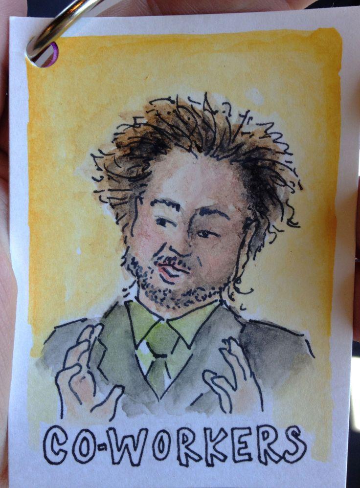 watercolor illustration of aliens meme guy