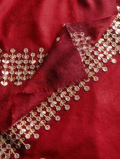 Red - Golden Zari Booti & Gota Border Cashmere Wool Shawl - Buy Accessories > Shawls > Red - Golden Zari Booti & Gota Border Cashmere Wool Shawl Online at Jaypore.com or visit www.richadesigns.in