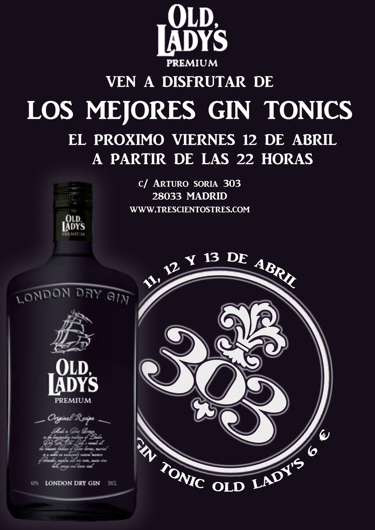 El proximo Viernes 12 de Abril, nos visitará el Embajador de Marca de Old Lady's London Dry Gin para preparar los mejores Gin Tonics del momento.Y como promoción especial, los días 11, 12 y 13 de Abril, el precio del Gin Tonic Old Lady's Premium será de 6,00 €