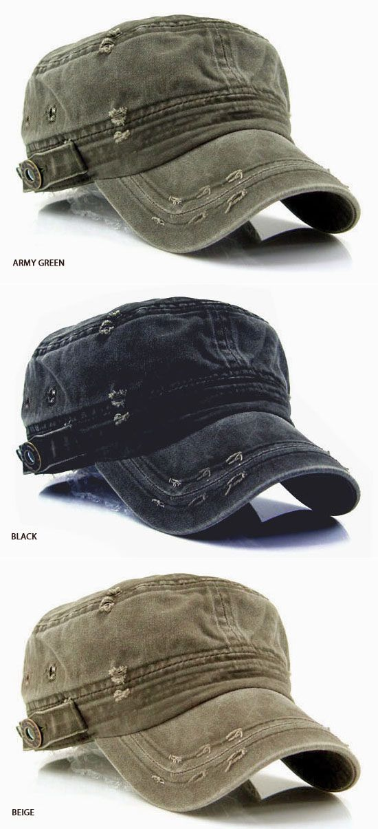 Accessories :: Hats :: Vintage Washed Military Short Brim Hat-Hat 07