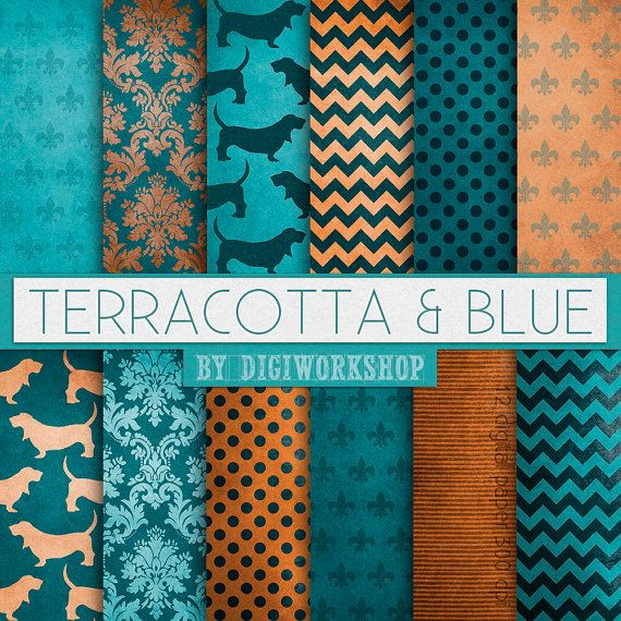 "12 #Terracotta, #Blue digital paper set -  ""Terracotta & Blue""  #patterns…"