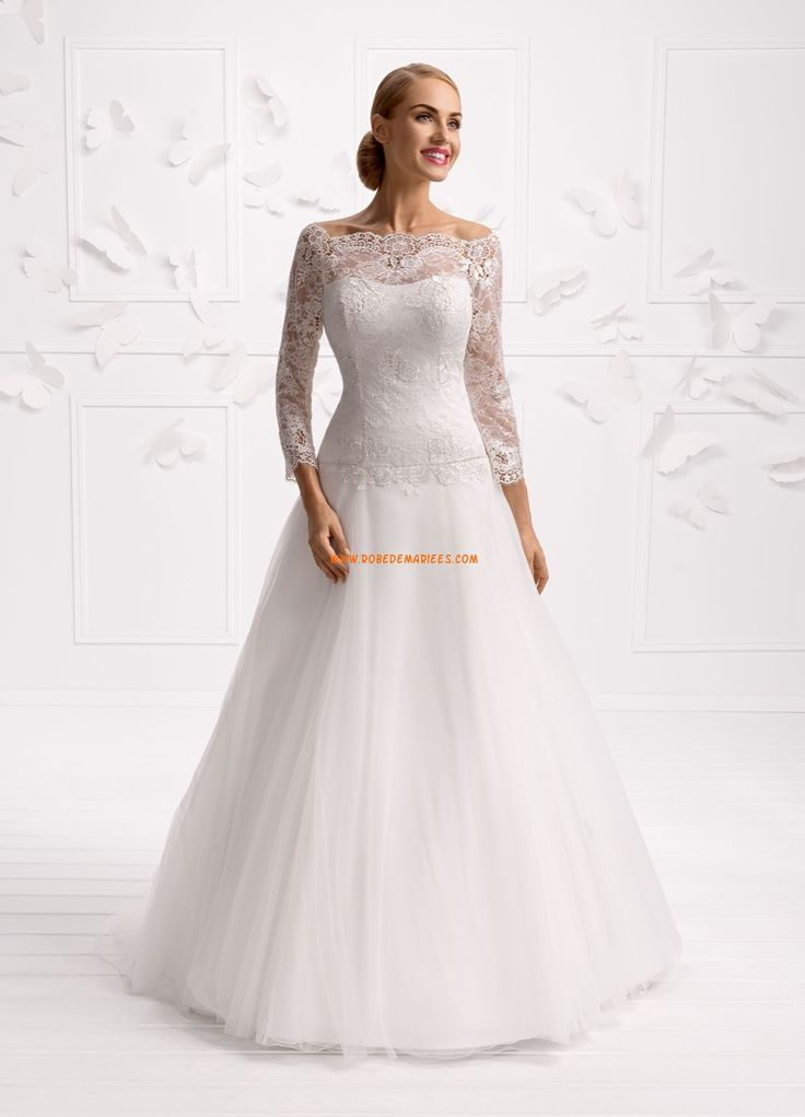 Robe de mariée tulle avec manches longues princesse charment