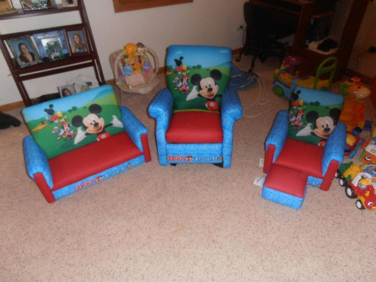 my sons mickey mouse clubhouse furniture includes sofa recliner and chair and