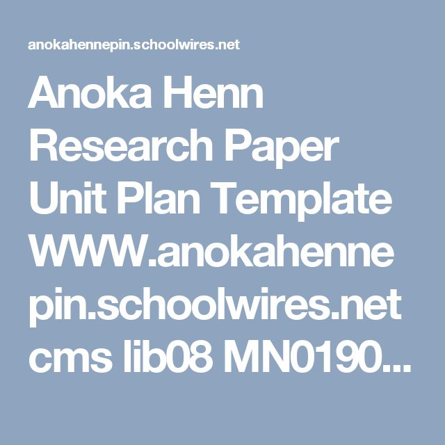 Anoka Henn Research Paper Unit Plan Template WWW.anokahennepin.schoolwires.net cms lib08 MN01909485 Centricity Domain 95 3%20High%20School English%20Learners EL%20HS%20EL%20IV%20-%20Unit%206%20Research.pdf