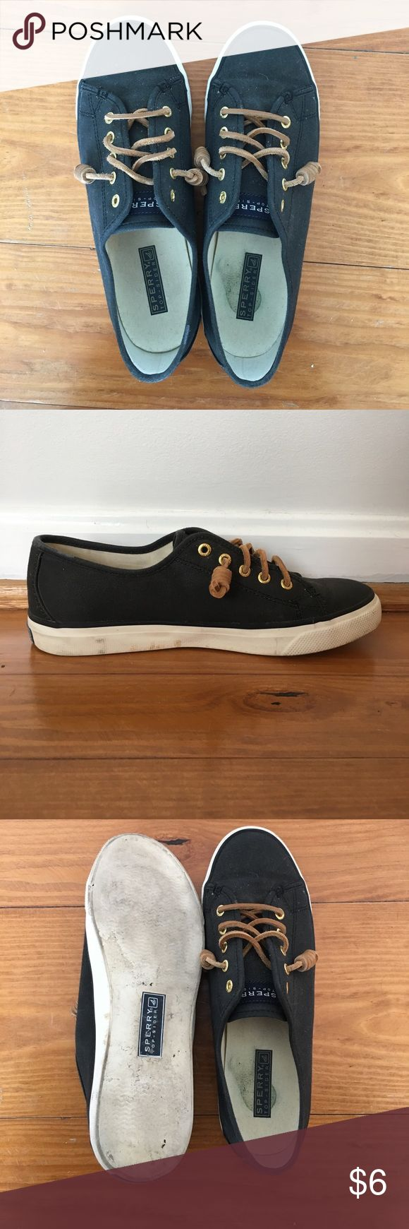 Sperry top-sider shoes in black Sperry Top-siders in black. Worn a handful of times. Size 8M. Sperry Top-Sider Shoes Sneakers