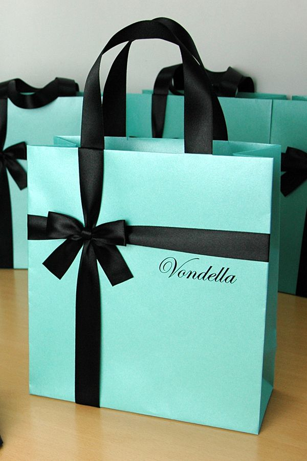 Birthday Gift Bags With Satin Ribbon Bow Custom Name Personalized Tiffany Themed Party Gifts And Favors For Guests Mint Black
