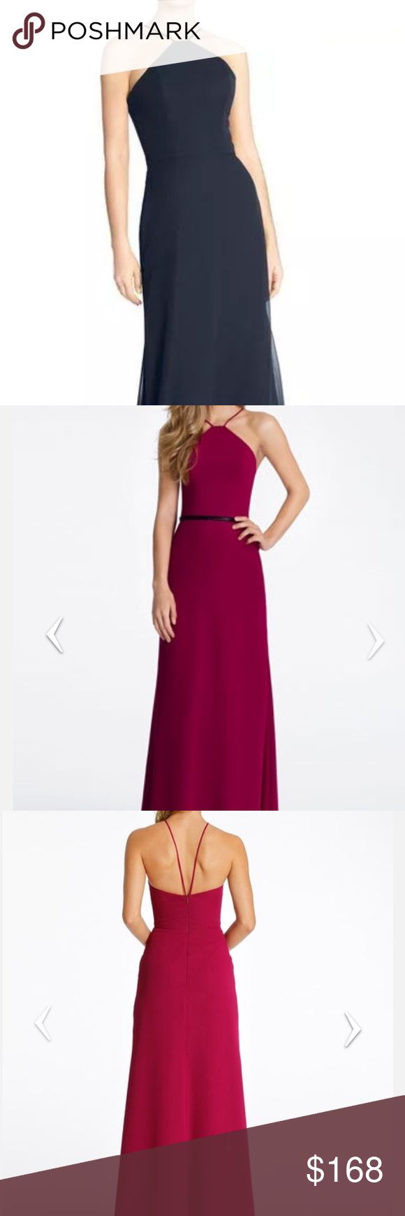 Hayley Paige Occasions Gown Style 5611   Navy chiffon A-line bridesmaid gown, high neck halter, natural waist.  Belt not included.  Dress has been shortened 1 inch Hayley Paige Occasions Dresses