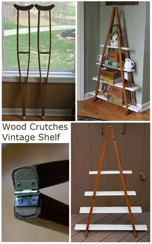 Wood Crutches Vintage Shelf- I happen to have 2 pairs of crutches in storage.