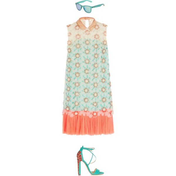 Coral+mint by clers2009 on Polyvore featuring мода, Delpozo, Brian Atwood and Polaroid