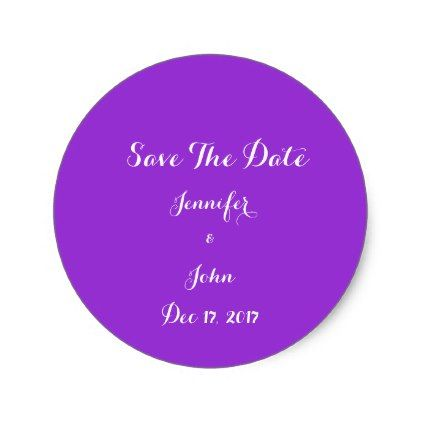 #wedding - #Elegant Bright Purple Save The Date Personalized Classic Round Sticker