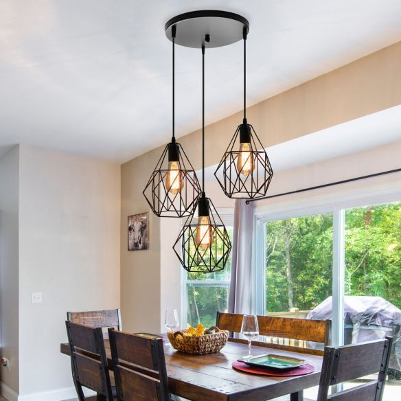 Vintage Style Faceted Cage Ceiling Fixture 3 Bulbs Metal Pendant Lighting With Rou In 2020 Pendant Lighting Over Dining Table Lights Over Dining Table Ceiling Fixtures