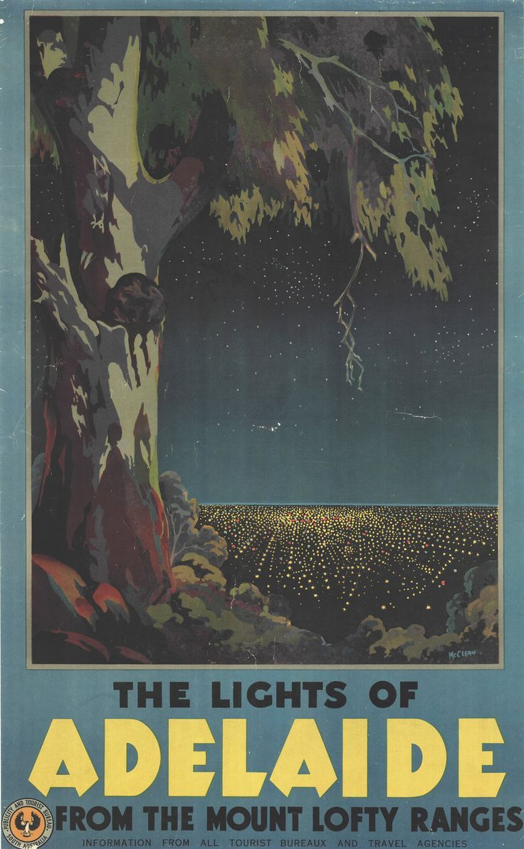The Lights Of Adelaide From The Mount Lofty Ranges State Library Of South Australia In 2020 Vintage Travel Posters Posters Australia Travel Posters