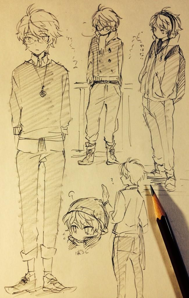 """Character sketches of a """"nerdy"""" male character with glasses."""