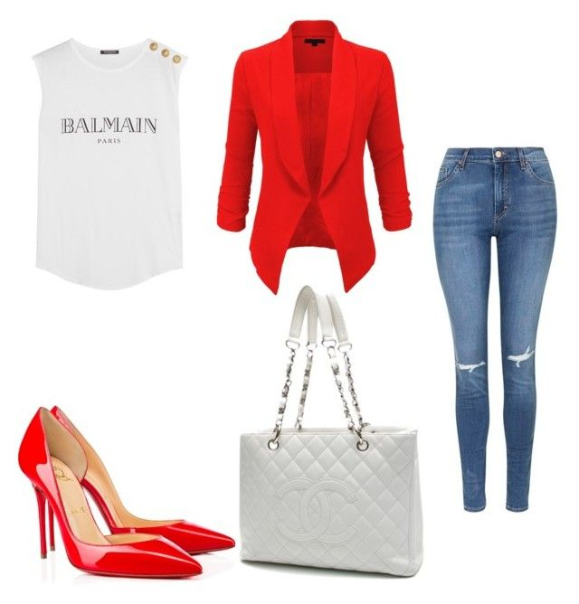 Untitled #222 by filomenamaria on Polyvore featuring polyvore fashion style Balmain LE3NO Topshop Christian Louboutin Chanel clothing