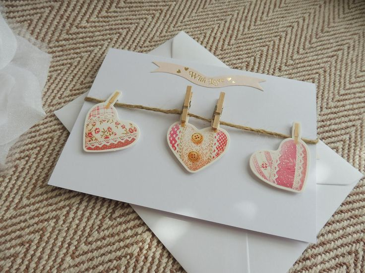 Pink Hearts With Love Card. Washing line of Hearts With Love card. Ladies birthday Card. Card for Mums, Nans, Aunties birthday. Card for her by GreetingsDesign on Etsy