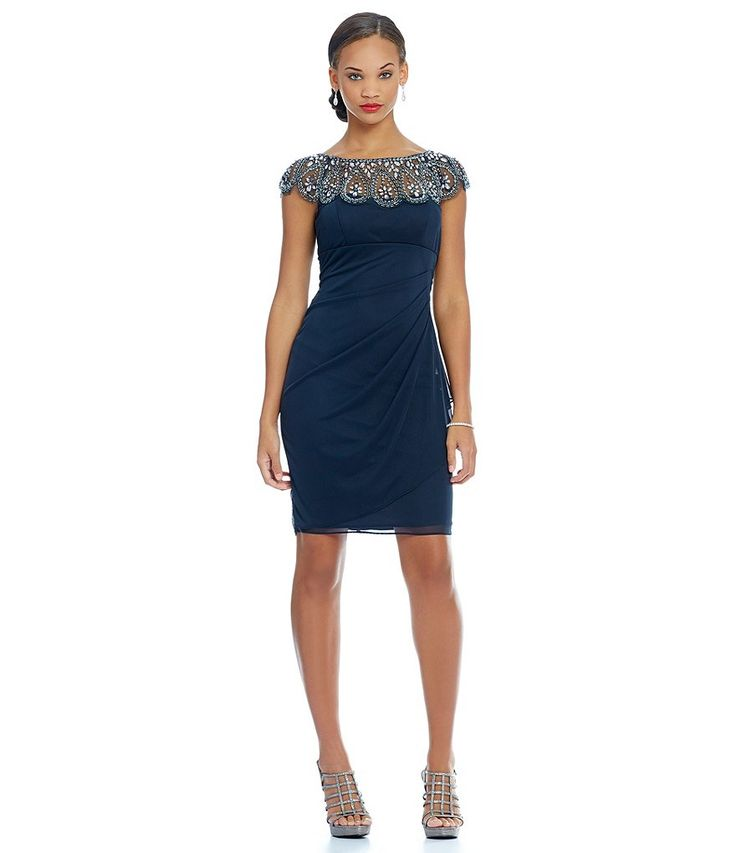 Charcoal:Xscape Beaded Neck Cap Sleeve Ruched Cocktail Dress