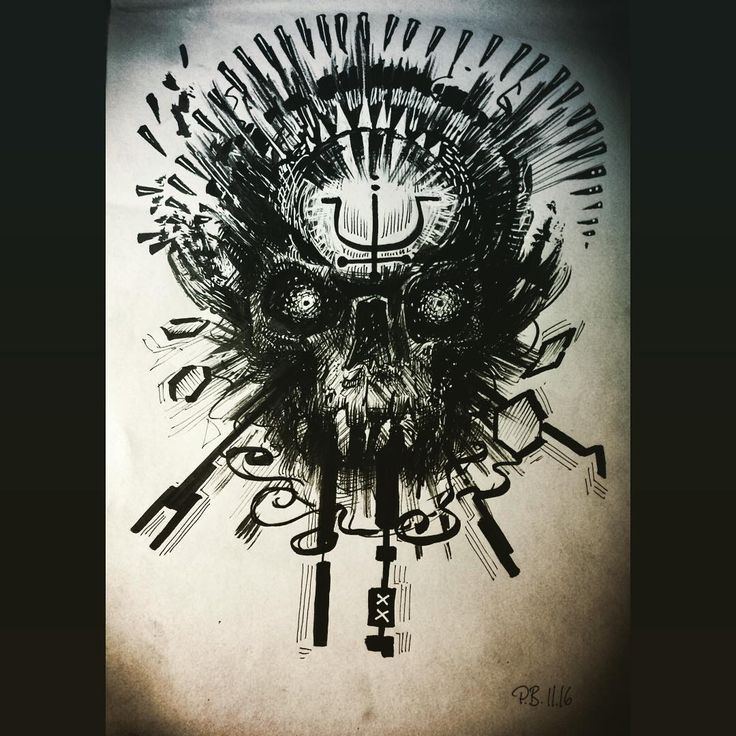 He, who has seen the light. #Nighttime #doodle of a #multidimensional, #ritual #skull. #brush #brushandink #ink #brushpen #doodles #dailydoodles #creepy #thetruth #doctorpete #symbol #light #darkness #awakening #nightmare #hell #spiritual #healing