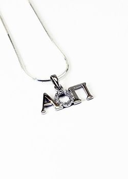 Alpha Omicron Pi Horizontal Lavaliere with Lab-Created Diamonds SALE $33.95. - Greek Clothing and Merchandise - Greek Gear®