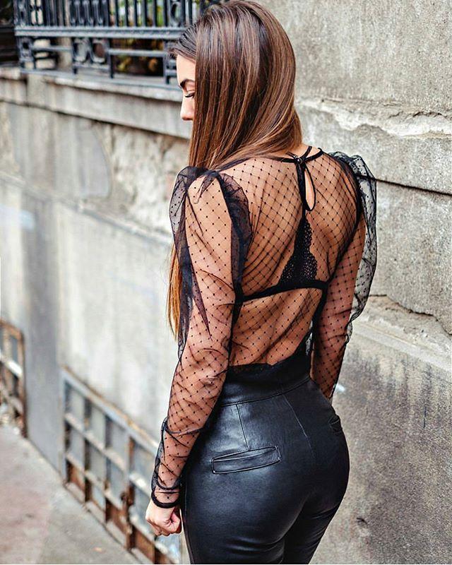 Blouse + leather pants