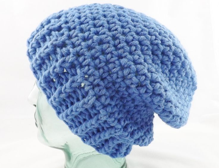 chunky beanie, slouchy hat, woolly hat, winter hat, mens hat, womens hat, hipster hat, knitted hat, crochet beanie, wool beanie, blue hat by MissSnowdrop on Etsy