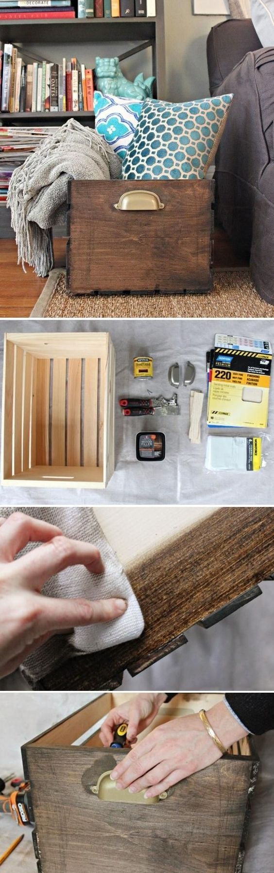 By using wood stain and cabinet hardware, you can build and customize a DIY Wooden Storage Crate, giving it a polished look.