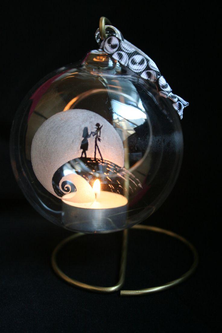 Nightmare Before Christmas, Jack Skellington, Sally, Hand Engraved Glass Tealight Holders ...